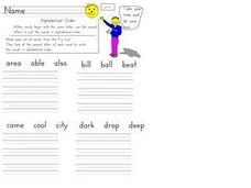 Alphabetize by Second Letter #2 Worksheet