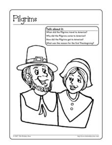 Pilgrim Coloring Page Worksheet