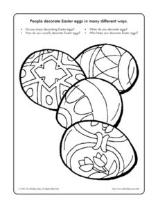 Easter Eggs - Coloring and Discussion Worksheet Worksheet