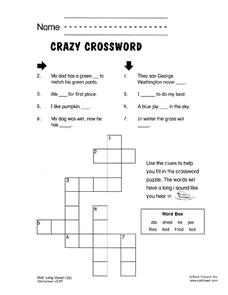 Crazy Crossword Worksheet