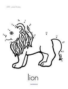Lion Connect the Dots Worksheet