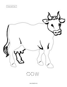 Trace and Color a Cow Worksheet