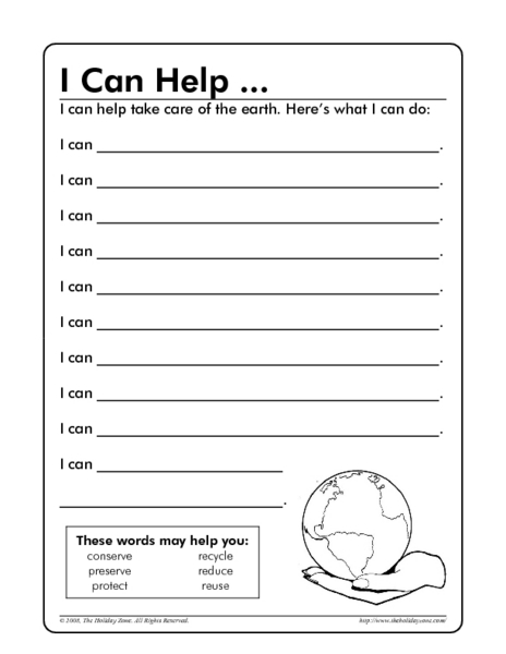 I Can Help Take Care of the Earth Worksheet for 2nd - 4th ...