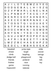 Recess Word Search Worksheet