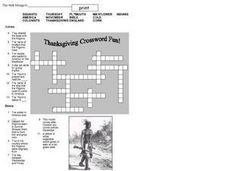 Thanksgiving Crossword Fun Worksheet