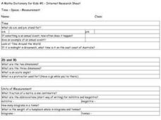 Time - Space - Measurement Worksheet