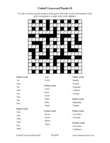 Coded Crossword Puzzle #1 Worksheet