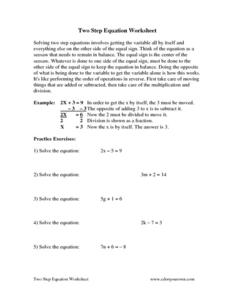 Two-Step Equation Worksheet Worksheet