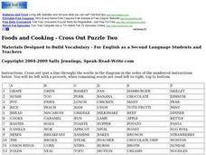 Foods and Cooking - Cross Out Puzzle Two Worksheet