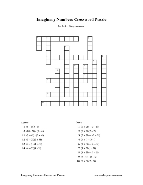 Imaginary Numbers Crossword Puzzle Worksheet For 10th 12th Grade