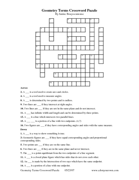 Geometry Terms Crossword Puzzle 9th - 10th Grade Worksheet ...