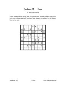 Sudoku #2 Easy Worksheet