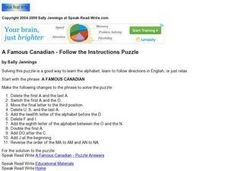 A Famous Canadian: Follow the Instructions Puzzle Worksheet