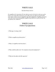 Write Sale - Reading An Advertisement Worksheet