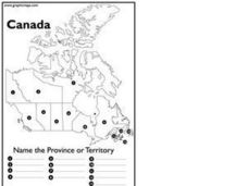 Canada: Name The Territory or Province Worksheet for 4th