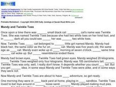 Fill In the Blanks: Mandy and Twinkle Toes Worksheet