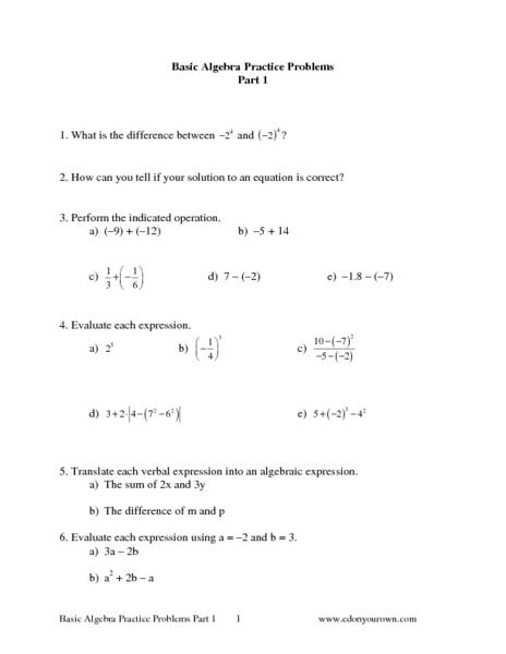 basic algebra practice problems part 1 worksheet for 6th 8th grade lesson planet. Black Bedroom Furniture Sets. Home Design Ideas
