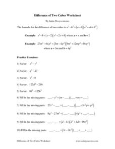 Difference of Two Cubes Worksheet Worksheet