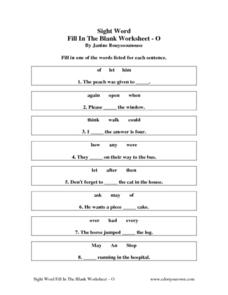 Sight Word Fill In The Blank Worksheet O Worksheet