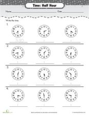 Time: Half-Hour Worksheet