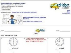 Time: Write It Worksheet
