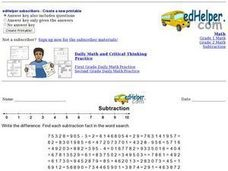 Subtraction Fact Word Search 3 Worksheet