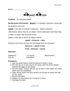 Speed Trails Worksheet