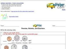 Pennies, Nickels, and Quarters: Missing Values Worksheet