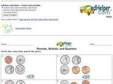 Pennies, Nickels, and Quarters: Prices Worksheet
