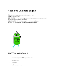 Soda Pop Can Hero Engine Lesson Plan