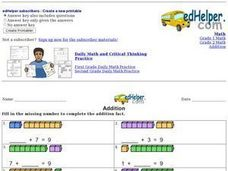 Addition: Missing Numbers 3 Worksheet
