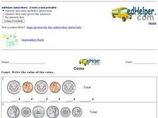 Coins - Totaling Coin Value Worksheet