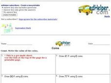 Coins - Drawing the Correct Amounts Worksheet