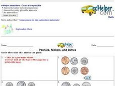 Pennies, Nickels, and Dimes: Match Worksheet