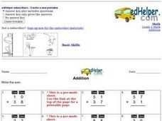 Addition Sums Worksheet