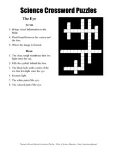 Science Crossword Puzzles: The Eye Worksheet