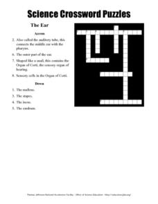 Science Crossword Puzzles: The Ear Worksheet
