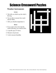 Science Crossword Puzzles - Weather Instruments Worksheet