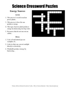 Science Crossword Puzzle - Energy Sources Worksheet