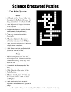 Science Crossword Puzzles - The Solar System Worksheet