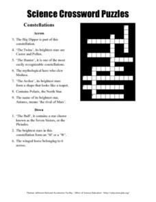 Science Crossword Puzzles: Constellations Worksheet for