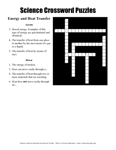 Science Crossword Puzzles - Energy and Heat Transfer Worksheet for ...