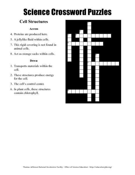 science crossword puzzles cell structures worksheet for 4th 9th grade lesson planet. Black Bedroom Furniture Sets. Home Design Ideas