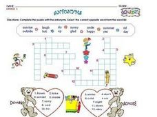 Antonyms - Crossword Puzzles Worksheet