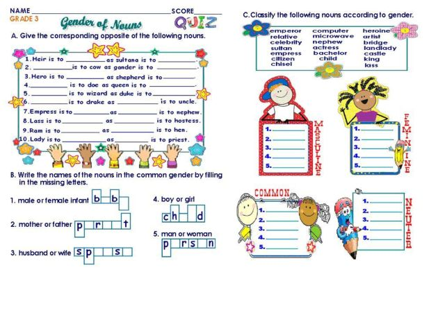 Gender of Nouns: Grade 3 Worksheet for 3rd - 4th Grade | Lesson Planet