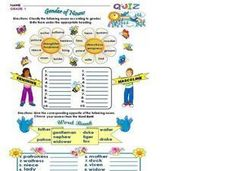Gender of Nouns: Grade 1 Worksheet