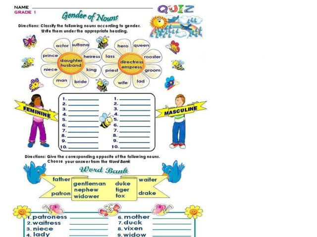 Gender of Nouns Lesson Plans & Worksheets Reviewed by Teachers