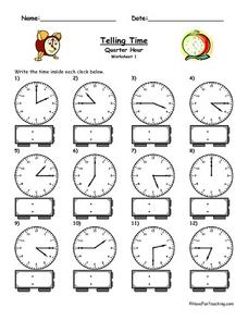 Telling Time: Quarter Hour Worksheet