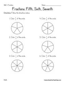 Fractions: Fifth, Sixth, 7 Worksheet