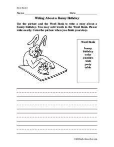 Writing About a Bunny Birthday Worksheet